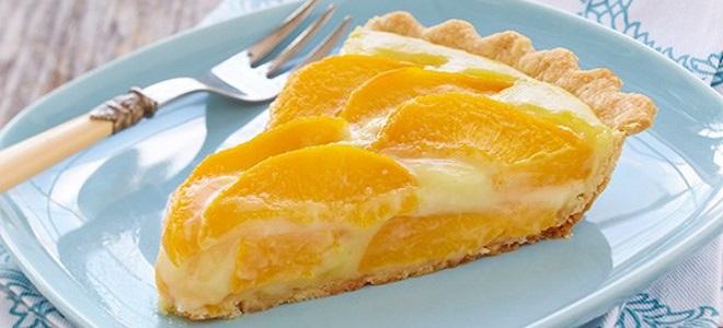 Открытый пирог с персиками - рецепт пошаговый с фото