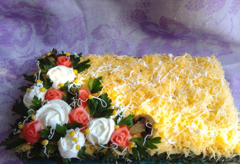 Селедочный торт из готовых вафельных коржей