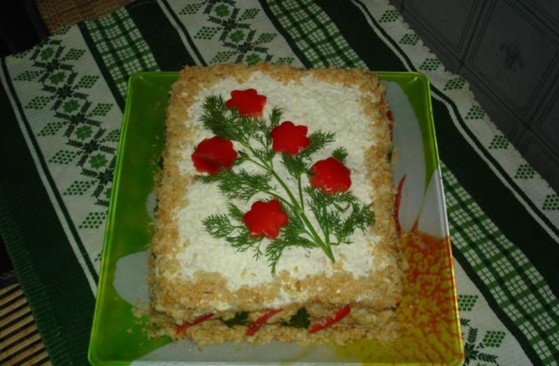 Вафельный торт с мясом и грибами