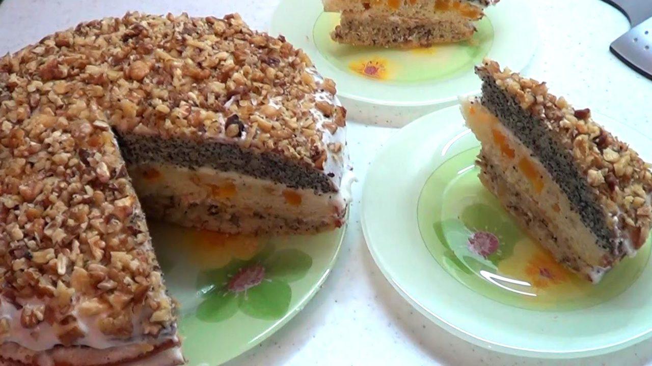 Торт Дамский каприз с курагой, маком и орехами