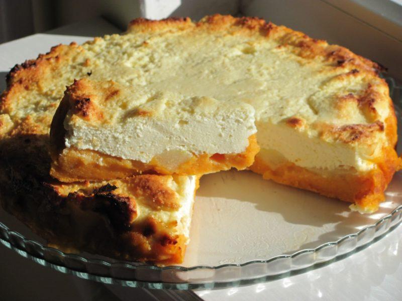 Пирог с тыквой и творогом из слоеного теста